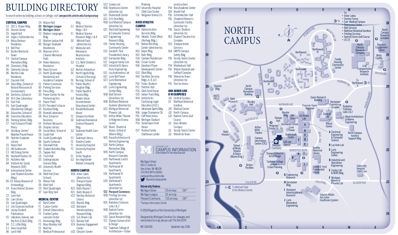 CAMPUS MAPS University of Michigan Online Visitors Guide