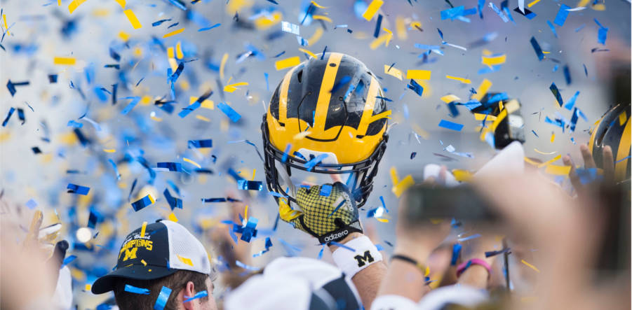 UMich football win celebration