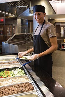 Dining Hall Employee Serving food