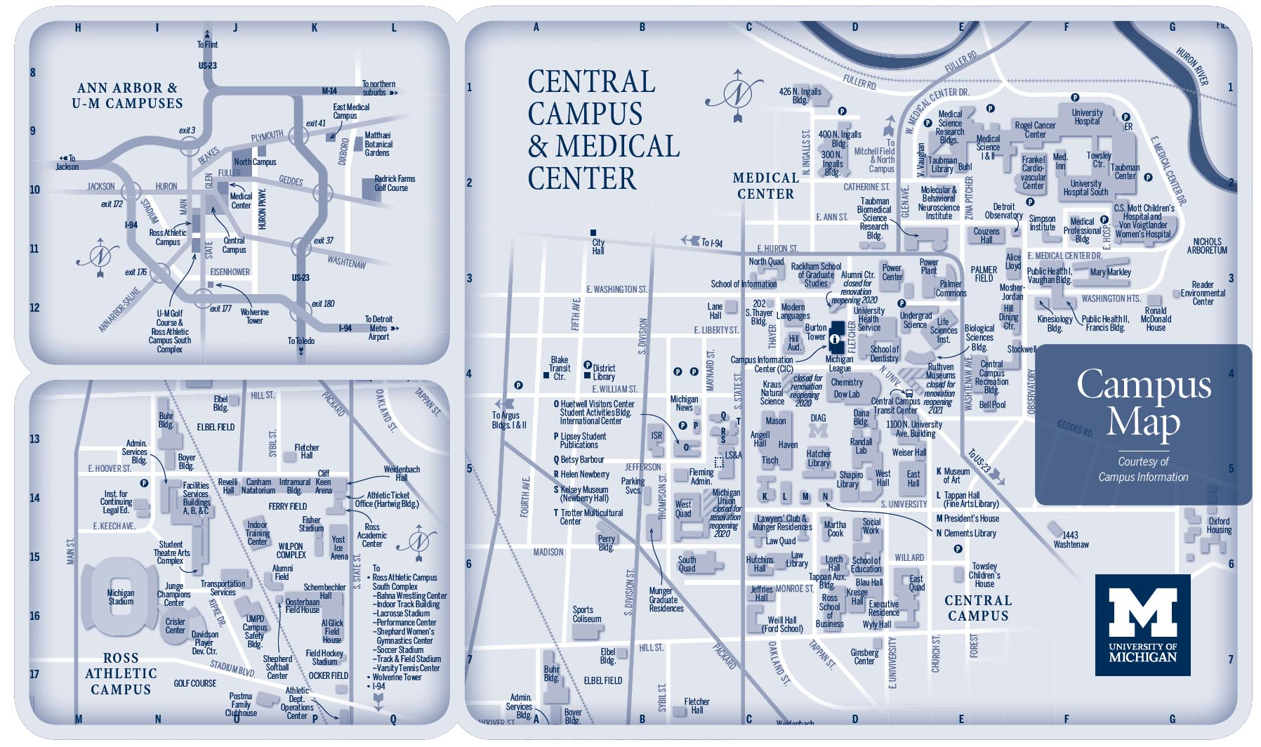 University of Michigan central campus and medical center map