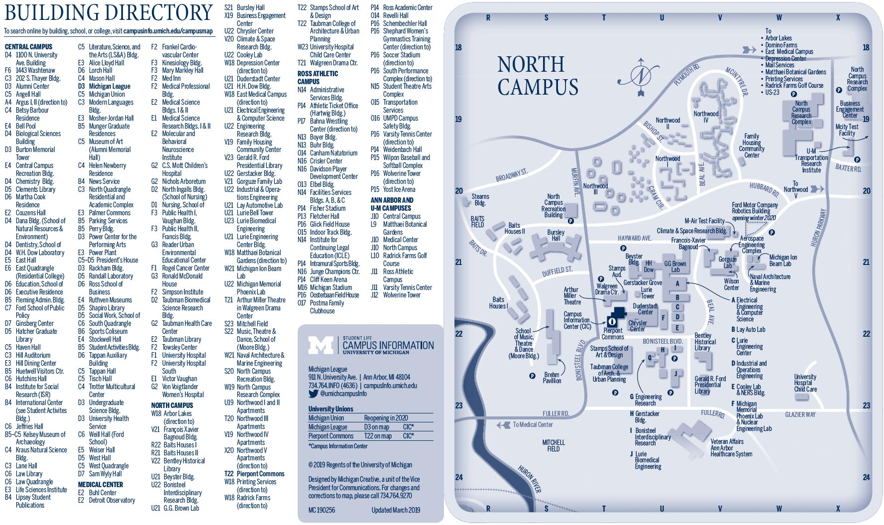 University of Michigan building directory and North Campus map